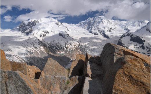 Blick vom Gornergrat zum Monte Rosa und Liskamm