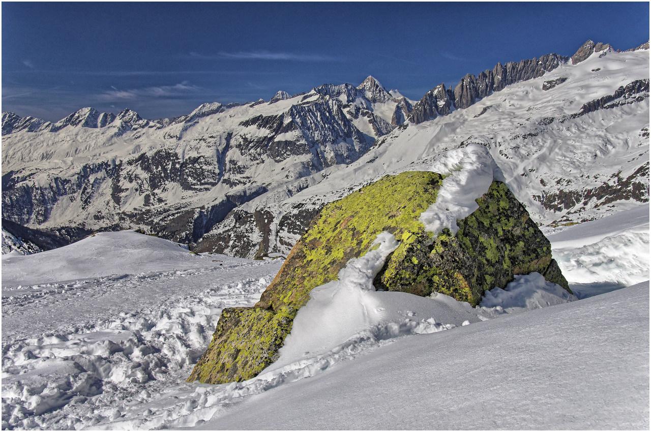 Mit farbigen Flechten bewachsene Felsen sorgen entlang des Wegs für Farbtupfer im Weiss