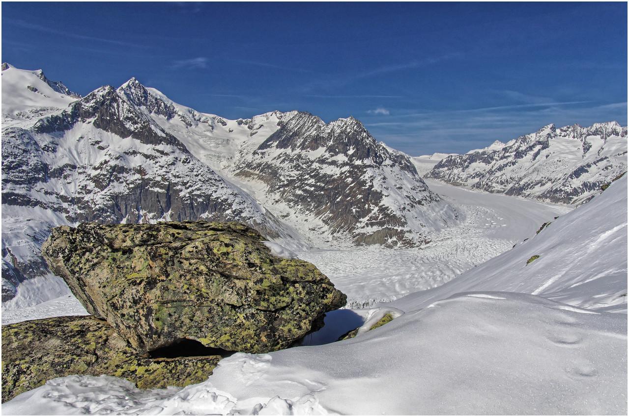 Grandiose Ausblicke zum Aletschgletscher