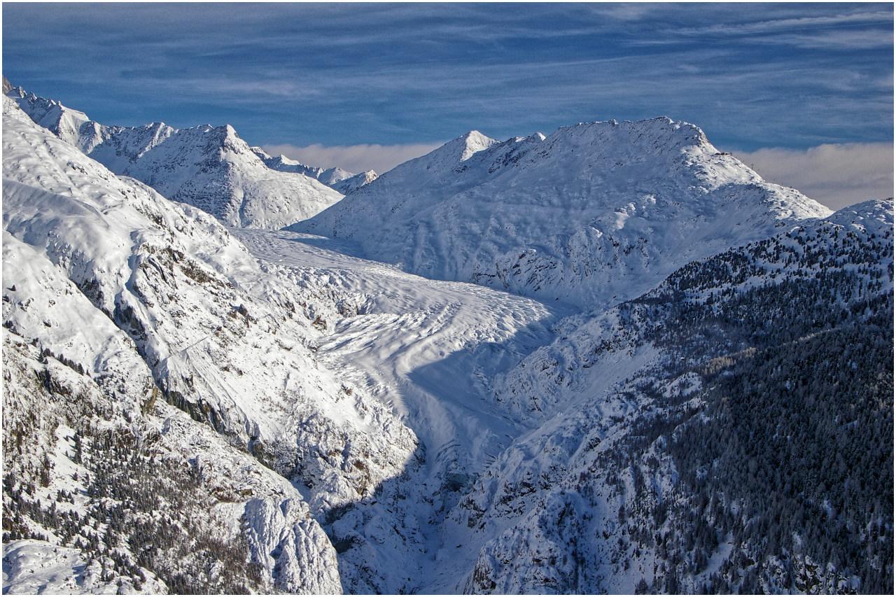 ...und der Ausblick von dort zum Aletschgletscher