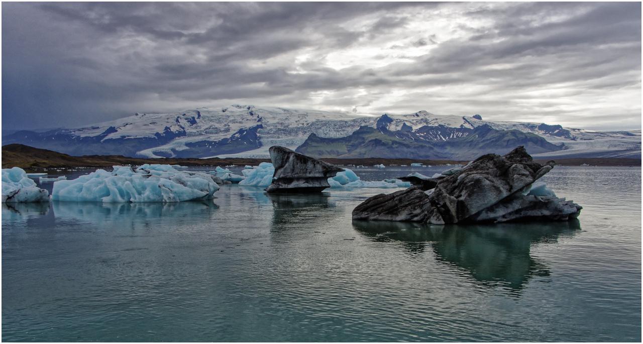Blick über die Gletscherlagune