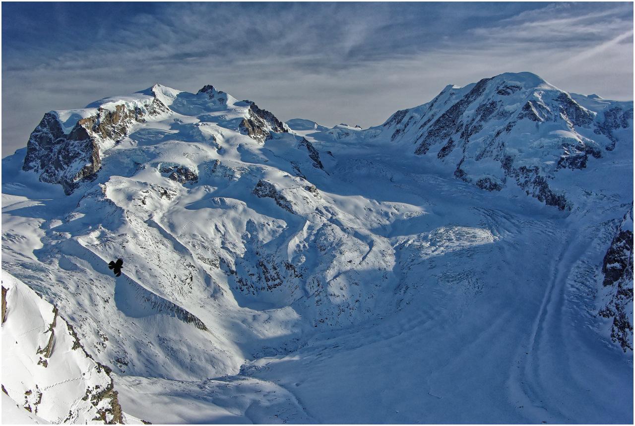 Ausblick vom Gornergrat zu Monte Rosa, Grenzgletscher und Liskamm