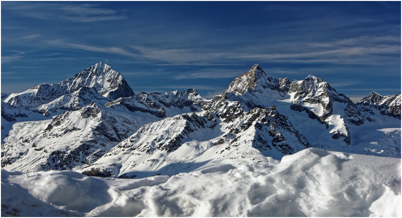 Panorama auf dem Rotenboden mit Dent Blanche und Zinalrothorn
