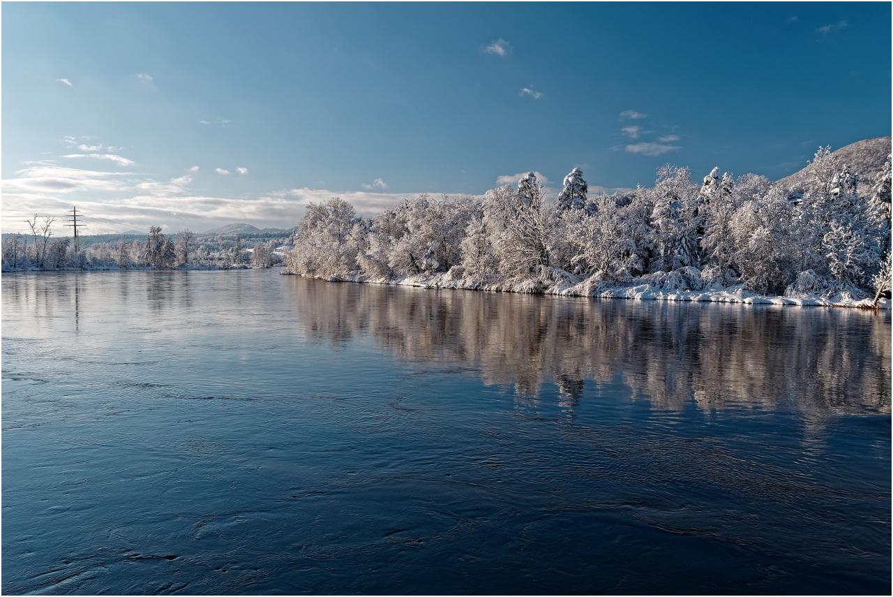 Die Winterpracht spiegelt sich in der ruhig fliessenden Aare