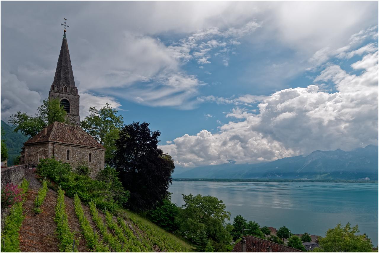 Ausblick von der Eglise Saint-Vincent am Rand der Altstadt