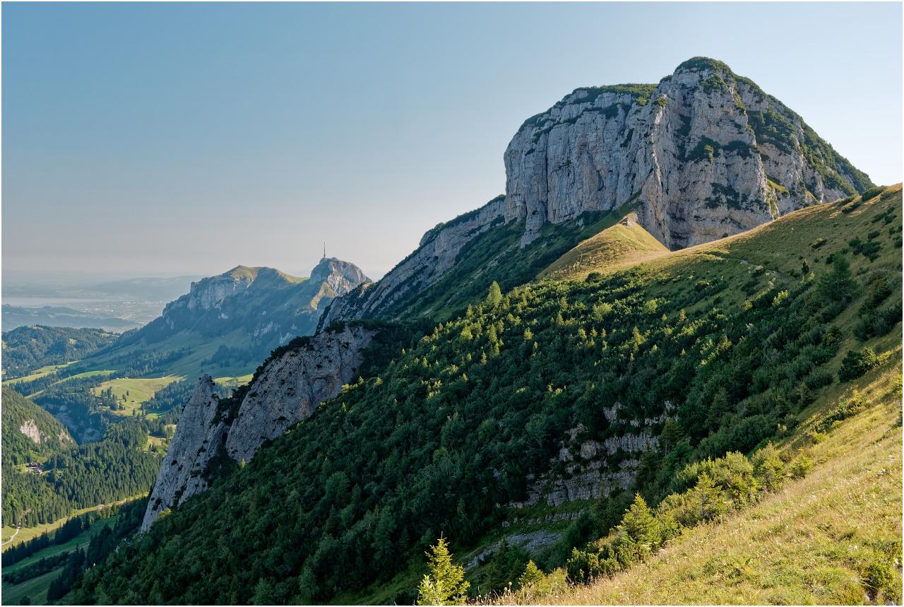 Blick zurück in Richtung Hoher Kasten und Bodensee